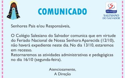 Comunicado – Recesso Dia de Nossa Senhora Aparecida