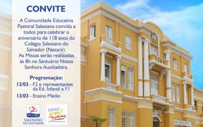 Convite – 118 anos do Colégio Salesiano do Salvador